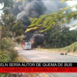 ELN sería autor de quema de bus en Fortul (Arauca)