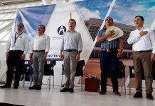 Acompañan al presidente Juan mahuel santos, el minsitro de Transporte germán cardona, el gobernador de Casanare Alirio barrera y el alcalde de Yopal Leonardo Puntes
