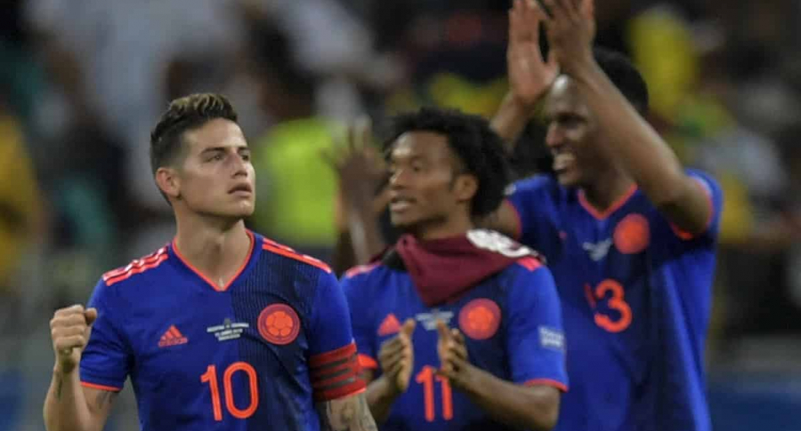 James Rodríguez James, Cuadrado y Mina. | AFP